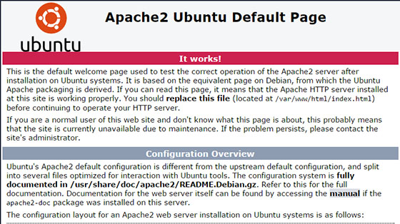 The default page for Apache on Ubuntu 16.04