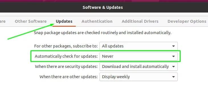 Disable Automatic Updates on Ubuntu 20.04